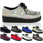 Womens Creepers Shoes Ladies Flat Platform Wedge Lace Up Punk Goth Boots Size