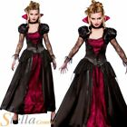 Ladies Gothic Vampire Queen Dracula Halloween Fancy Dress Costume Womens Outfit