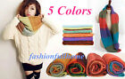 Fashion Women girl Infinity 2 Circle Cable Knit Cowl Neck Long Scarf Wrap Shawl