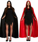 UNISEX HALLOWEEN VELVET LONG HOODED CAPE CLOAK FANCY DRESS MENS WOMENS COSTUME