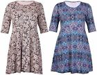 Womens Paisley Print Ladies Short Sleeve Flare Tie Back Dress Long Top Plus Size