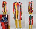 Doctor Cosplay Who Series 6th Dr Costume Colorful Lattice Stripe Coat Good Sell