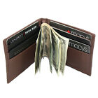 Men's Lambskin Leather Spring Money Clip Compact Bifold Front Pocket Wallet
