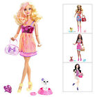 Barbie Fashionistas Play Set With Doll & Pet Puppy Dog Figure & Accessories