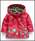 GIRLS RED RAIN MAC COAT SPRING SUMMER JACKET with HOOD WINDBREAKER FLOWERS 2-7y