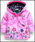 GIRLS PINK RAIN MAC COAT SPRING SUMMER JACKET with HOOD WINDBREAKER FLOWER 2-7y