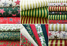 christmas fat quarters 100 % cotton red green ivory craft fabric holly stars
