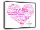 Personalised Canvas Heart Word Art-Thank You Gift-UNIQUE-Your Choice Of Words***