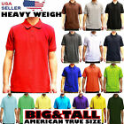 MENS BIG AND TALL PLAIN POLO SOLID COLORS T SHIRT PIQUE COLLARED CASUAL TOP  image