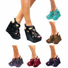 LADIES HIGH WEDGE HEEL CHUNKY SOLE PLATFORM WOMENS STRAPPY SANDAL SHOES SIZE