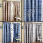 STRIPED CHECK TARTAN PAIR THERMAL BLOCKOUT READY MADE CURTAINS CREAM GREY SILVER