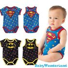 Baby Boys Girls Superman Batman Spiderman Superhero Jumpsuit Romper Size 0-2Y