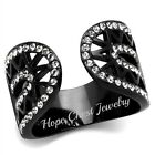 WOMEN'S BLACK STAINLESS STEEL OPEN TOP CLEAR CRYSTAL FASHION RING SIZE 5 - 10