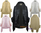 LADIES WOMENS LUXURIOUS FAUX FUR SHAWL CAPE PONCHO ROSE TEXTURED WRAP CARDIGAN