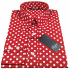 RELCO POLKA DOT LS SHIRT - RED - WHITE - 60S VINTAGE DESIGN - MOD / SKIN