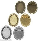 5PCs Brooches Fit 40 x30mm Cabochons Lace Leaf Hollow 5.1x4cm