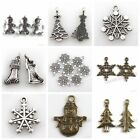 New Antique Silver/Bronze Xmas Tree Snowflake Snowman Charms Pendants Fit DIY C