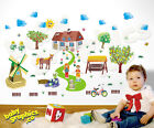 Village wall decals scene: windmill, pond, trees, horse, house - repositionable