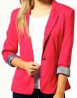 Womens fitted blazer turn up sleeves crop jacket Ladies Sizes UK 8-14