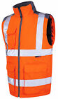 HI VIS VIZ  BODY WARMER WAISTCOAT PHONE POCKET ORANGE with GREY TRIM