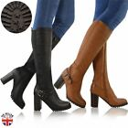 WOMENS LADIES WIDE LEG KNEE HIGH MID CALF BLOCK HEEL RIDING BOOTS STRETCH SHOES