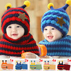 Baby Kids Honey Bee Hat With Scarf Warmer Set Toddler Crochet Beanie Cap MZ2270