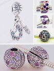 925 Sterling Silver Colored CZ Charms fit European Charms Beads Bracelets