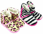 Girl's Animal Print Leopard Zebra Fluffy Slipper Boots UK Shoe Sizes 10 to 2 NEW