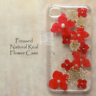 XRH Pressed Red Natural Real Flower Hand Craft Floral Resin Hard Skin Case Cover
