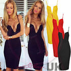 UK Celeb Women Going Out Club Bodycon Deep V Plunge Bustier Bra Low Cut Dress