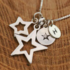 Personalized Sterling Silver 3 Sizes Wishing Stars Pendant Necklace +Initial Tag