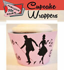 Pink RETRO ROCK AND ROLL 50S DINER Party 15 Wraps Cupcake Cases Cake Wrappers