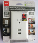 RCA Wall Plate with 2 USB Charger Outlets for iPad iPhone Tablet PC Smartphone