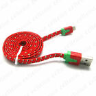 1M 3FT Flat Braided Fabric USB Data Sync Charger Cable for i Pod Touch 5 Nano 7