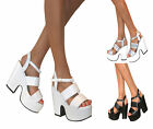 WOMENS DEMI CHUNKY WEDGE PLATFORM PEEP TOE HIGH HEEL ANKLE STRAP SHOES SANDALS