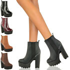 LADIES WOMENS CLEATED ELASTIC PLATFORM BOOTS CHUNKY BLOCK HIGH HEEL ANKLE SHOES