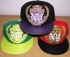 NY Super Crown Flat Peak Hat Flat Brim Leather Look Hiphop Fitted Baseball Cap
