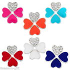 1PC Silver Plated Connector Enamel Clover Shape White Rhinestone