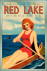 RED LAKE Minnesota Poster Canoe Redhead Deer 8 point Buck Pin Up Art Print 243