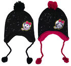 Girls Monster High Winter Peruvian Bobble Hat with Sequins & Pom Poms 3-12yr NEW