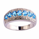 Blue White Topaz Jewelry Gemstone Women Men Silver Ring Size 6 7 8 9 10 11 12 13