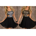 HIGA Women Sexy Sequin Cutout Top Skater Dress Ladies Skirt Elegant Fashion
