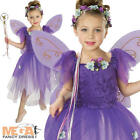 Plum Pixie Fairytale Fancy Dress Kids Girls Fairy Costume + Wings Ages 3-10