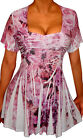 FUNFASH PLUS SIZE PINK RHINESTONES SLIMMING EMPIRE WAIST NEW PLUS SIZE TOP SHIRT
