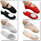 Free P&P UK Stock Comfortable Canvas Women Adult Ballet Dance Flat Shoes 2.5-7.5