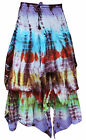 Stunning Colourful Hippy Boho 100% Thick Cotton Long Maxi Tie Dye Skirt Dress