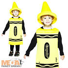 Kids Yellow Crayola Crayon Fancy Dress Book Week Costume Child Ages 3-12 Years