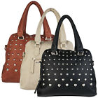 NEW WOMENS LADIES LARGE CASUAL HANDBAG HIGH SELLER QUALITY ROUND STUD BAG