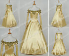 Once Upon A Time Season 3 Cosplay Belle Costume Formal Dress Gown High Quality