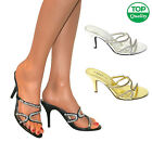 LADIES WOMENS DIAMANTE KITTEN HEELS PROM PARTY WEDDING BRIDAL BRIDESMAID SHOES